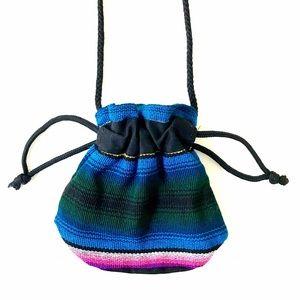 70s Ethnic boho Hippie rainbow striped coin purse